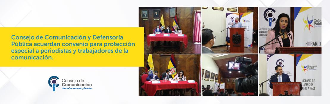 Banner Consejo de Comunicación y Defensoría Pública acuerdan convenio para protección especial a periodistas y trabajadores de la comunicación