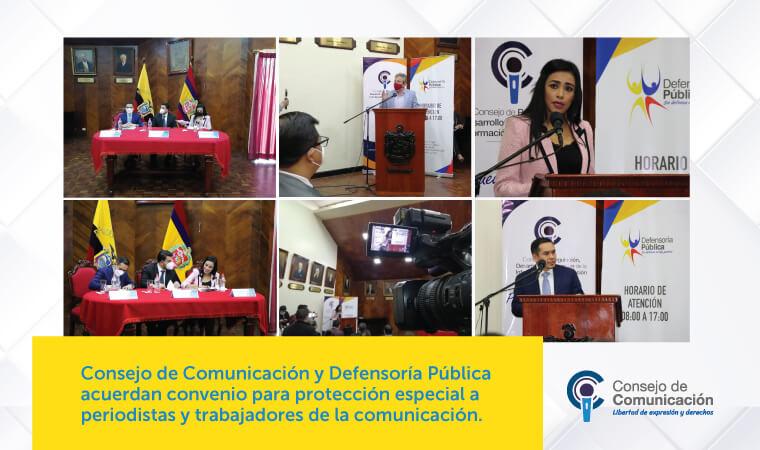 Consejo de Comunicación y Defensoría Pública acuerdan convenio para protección especial a periodistas y trabajadores de la comunicación
